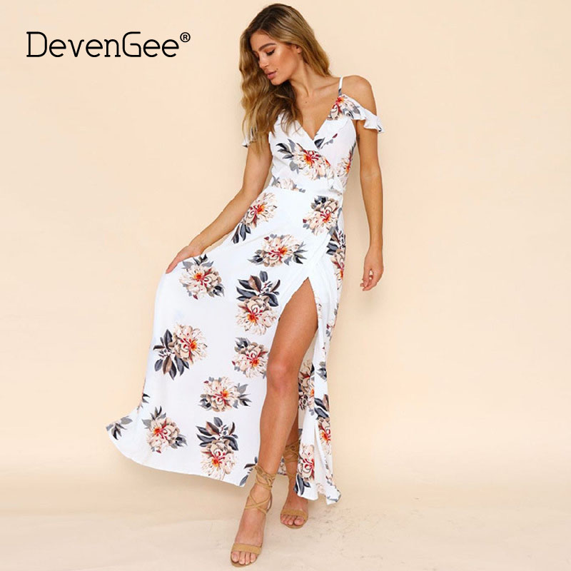 f3eaea096d9 DevenGee New 2018 Beach Summer Dress Women Strap V Neck Floral Print  Ruffles Chiffon Tunic Long