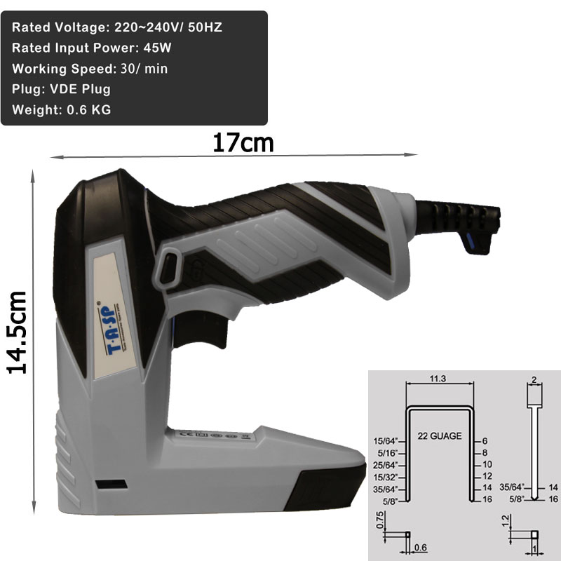 TASP 220 v 2 in 1 Elektrische Nagler und Hefter für Möbel Tacker für ...