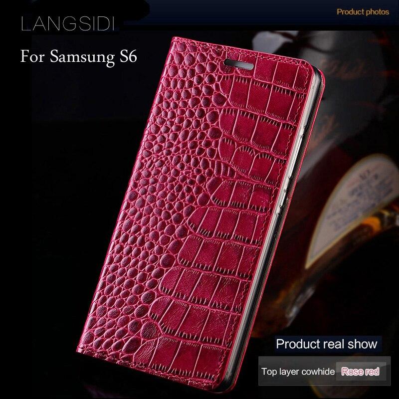 wangcangli brand mobile phone case genuine leather crocodile Flat texture phone case For Samsung Galaxy S6  handmade phone case