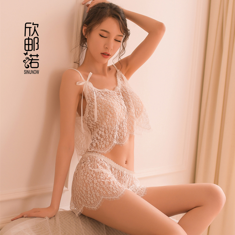 summer Lace Patchwork Sexy Lingerie Costumes Women V-neck Strap Tops Short Thong   Pajamas     Set   Underwear Sling   pajamas   Sleepwear