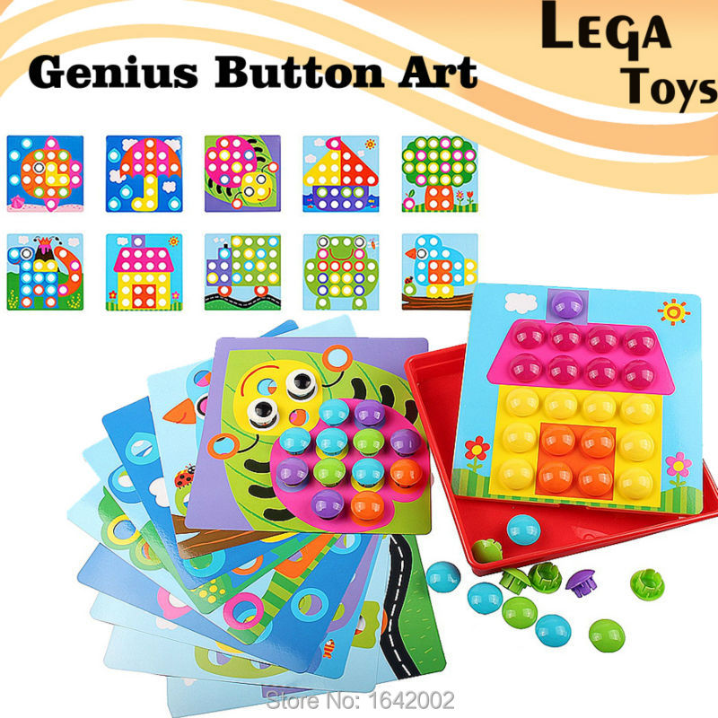 3D Puzzles Button Art Color Matching Mosaic Pegboard Creative Nail Kit Genius Button Art Learning Educational Toys For Kids