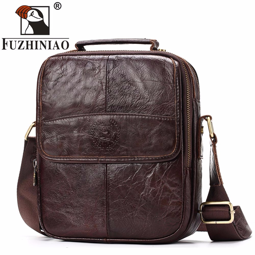 FUZHINIAO Genuine Cowhide Leather Messenger Bag Men Shoulder Crossbody Bags Bolsas Sac Sling Chest For Male Small Ipad Handbag genuine leather bag cowhide shoulder men