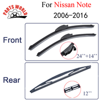 Combo Silicone Rubber Front And Rear Wiper Blades For Nissan Note 2006 Onwards Windscreen Wipers Car
