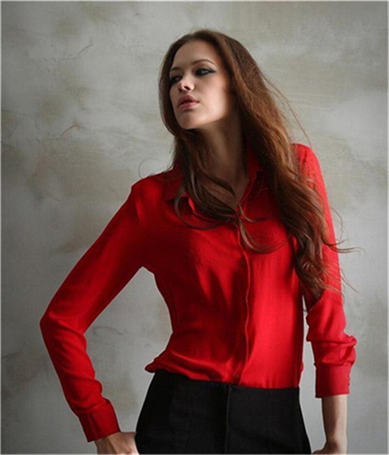100pcs/lot Women's Shirt Solid Color Long Sleeve Large Size Chiffon Shirt Comfortable Slim Office Top 5 Colors 7