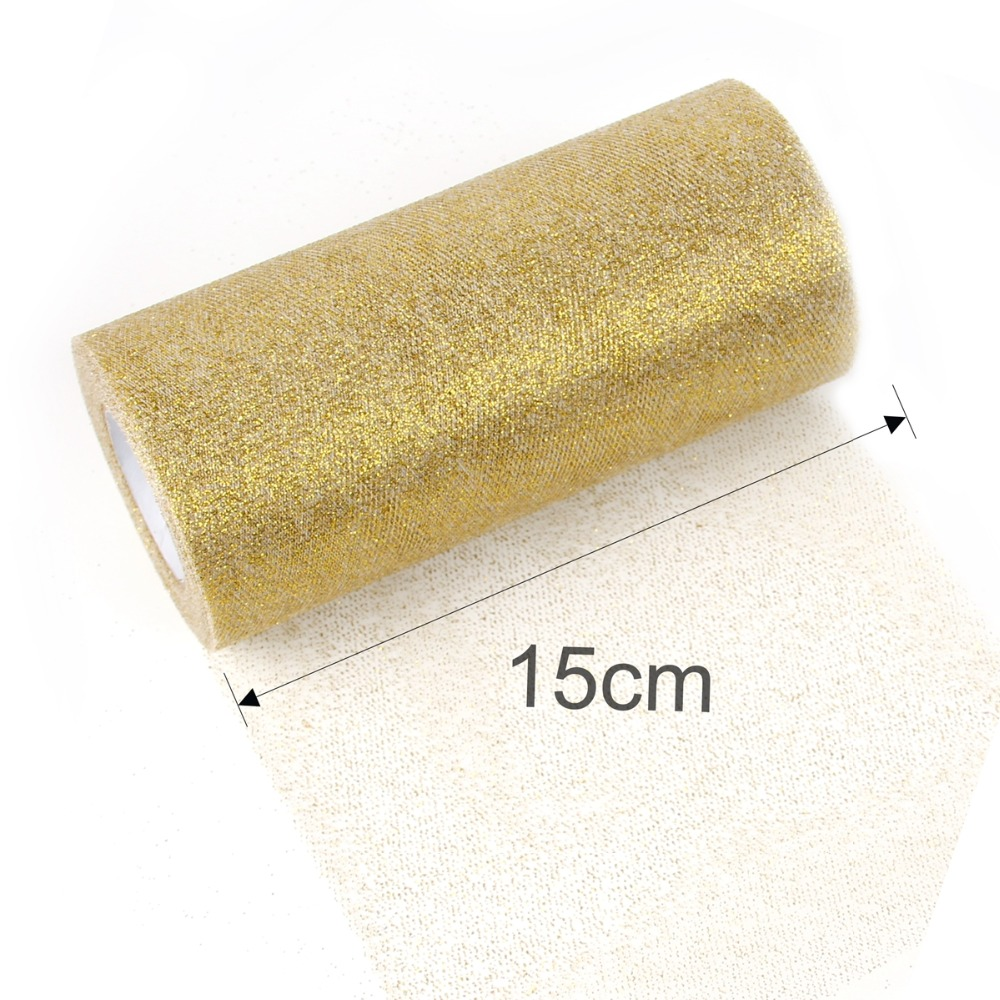 Image 5 - Frigg Gold Wedding Table Runner 25 Yards Glitter Shimmering Tulle Rolls Birthday Party Decorative Table Runner Roll Home Decor-in Table Runners from Home & Garden