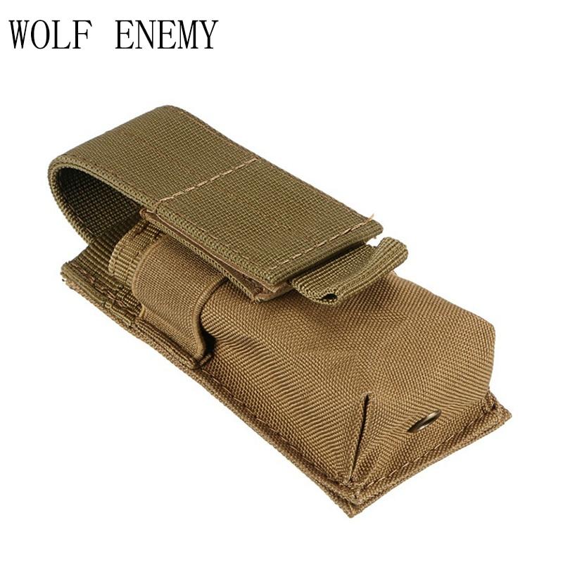 Mini Nylon Bag Tactical M5 Flashlight Bag MOLLE Clip Single Magazine Pouch Pistol Gun Holster for Hunting Vest Rucksack
