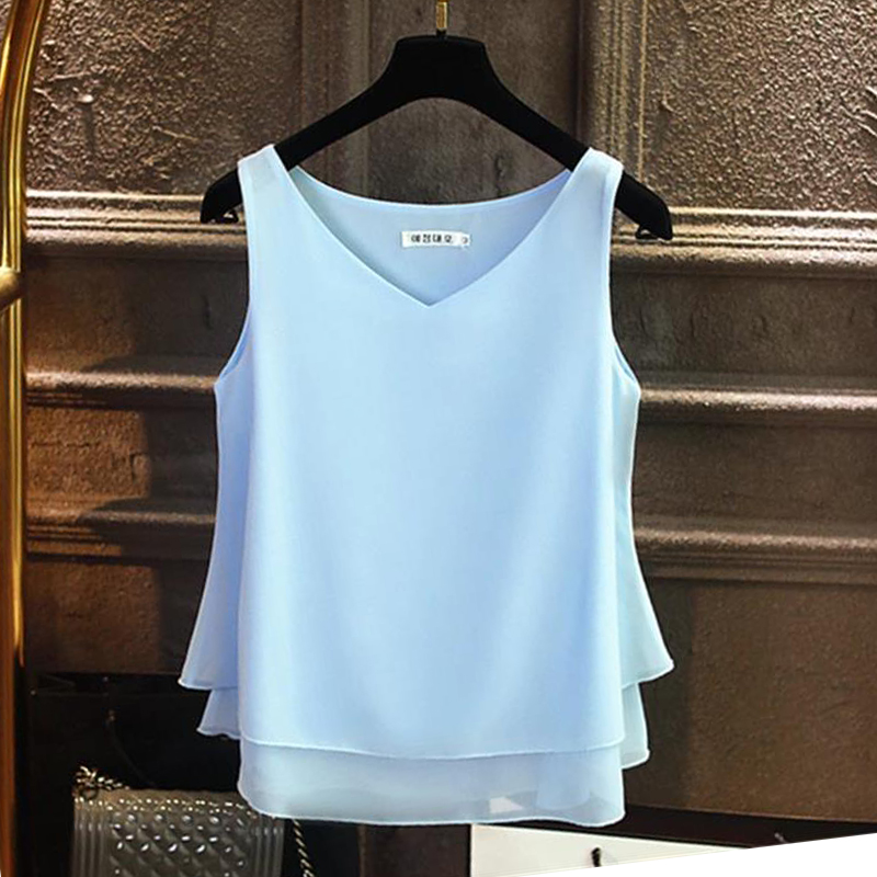 2019 Fashion Brand Women's Blouse Summer Sleeveless Chiffon Shirt Solid V-neck Casual Blouse Plus Size 4XL Loose Girl Top