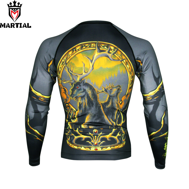 Martial :  Ours Is The Fury Printed Full Sleeve Rashguards Fitness Mma Grappling Shirts Bjj RASHGUARDS