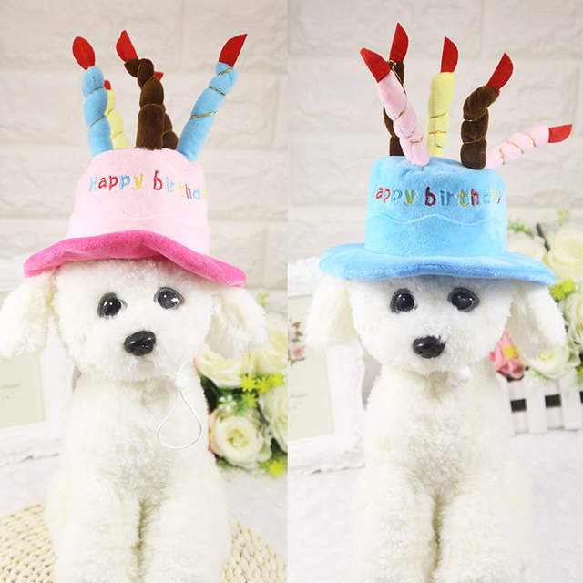 Placeholder D06 Dog Birthday Cake Caps Puppy Hat With Candles Design Party Costume