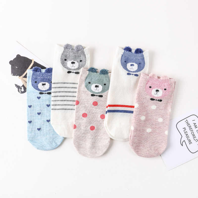 Cute little bear cartoon candy color cotton socks antibacterial deodorant breathable casual socks