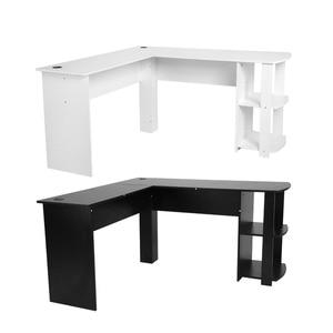 Image 3 - Computer Schreibtisch Holz Büro Computer Schreibtisch Home Gaming PC Furnitur L Form Ecke Studie Computer Tisch Mit Buch regal