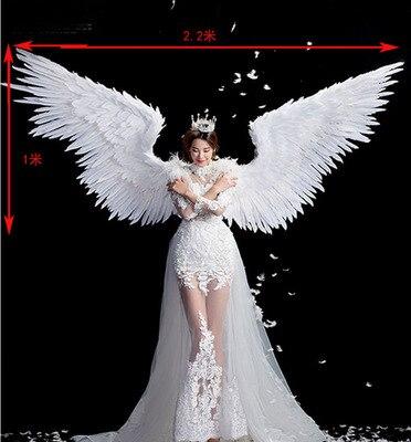 Pure White Angel Feather Wing Volwassen Model Runway Ondergoed Tonen Schieten Props Festival Party Wing Voor Halloween Dag - 3