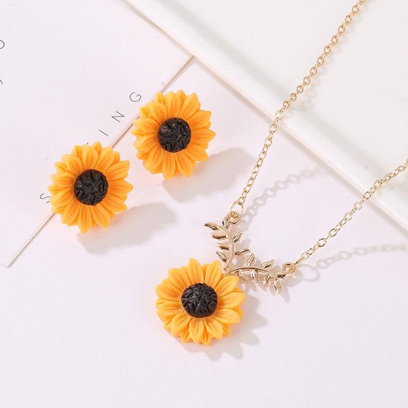 Women Flower Earrings Sunflower Necklace Leaf Branch Pendant Jewelry Set