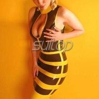 Látex de goma sexy estriado vestido de una sola pieza para las niñas estilo abeja