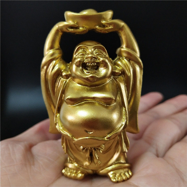 Golden Chinese Feng Shui Laughing Buddha Statue Ornaments Money Maitreya Buddha Sculpture Garden Figurines For Home Decoration 6