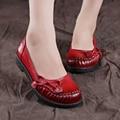Натуральная кожа осень квартиры города женская обувь круглый носок коровьей старинные мягкая подошва обувь ручной работы