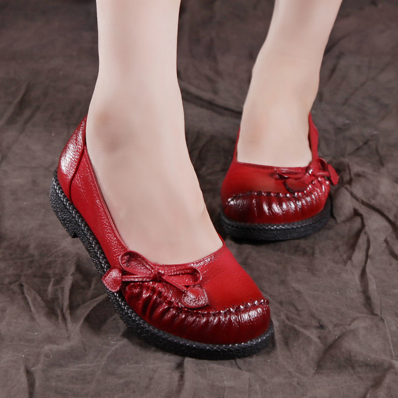 ФОТО Genuine leather autumn flats comfortabe women shoes round toe cowhide vintage soft outsole handmade shoes