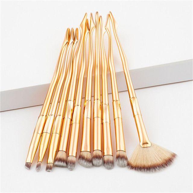 10Pcs Elegant Leg Shape Makeup Brush Set Fan Eyeshadow Eyeliner Eyebrow Brush Eye Makeup Kits Colorful Gradient&Gold Makeup Brushes