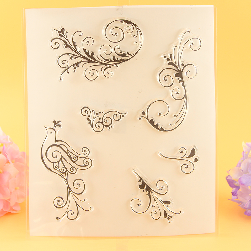 YLCS072 bird lace angle Silicone clear stamps for Scrapbooking DIY album cards decoration Embossing folder rubber stamp 15*18cm from 2012 ea1420 1ms new 0626 coastal bird stamps