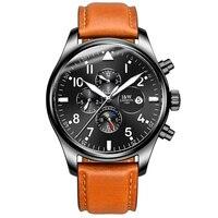 Karnawał Zegarek Mechaniczny Mężczyźni Fazy Księżyca Skórzane Miyota 25 Klejnotów Ze Stali Nierdzewnej Wielofunkcyjny Zegar Relogio Masculino Hot