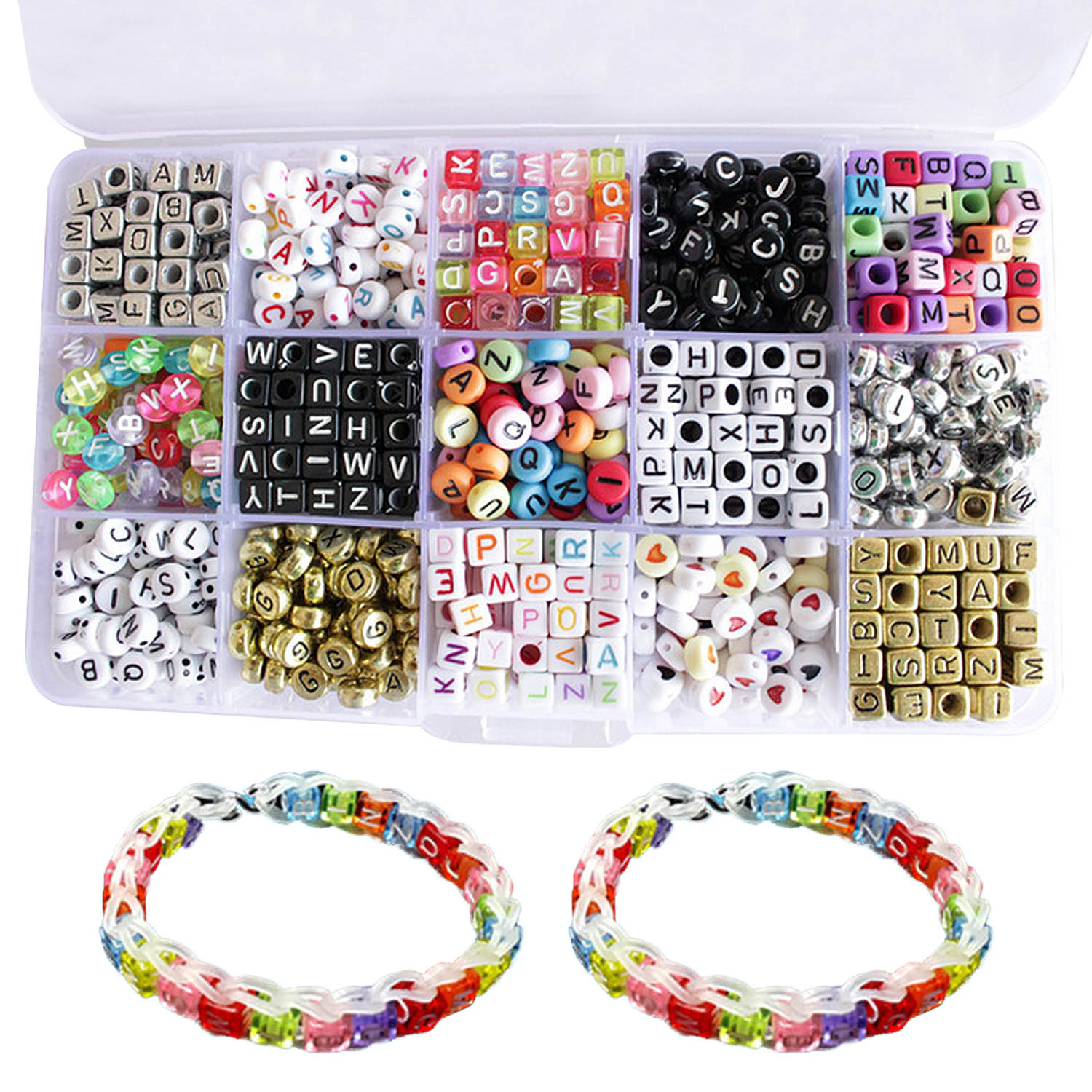 1100 Pcs 15 Styles Round Square Acrylic Mixed Color Letter Alphabet Loose Beads For DIY Jewelry & Craft Making Accessories Toys