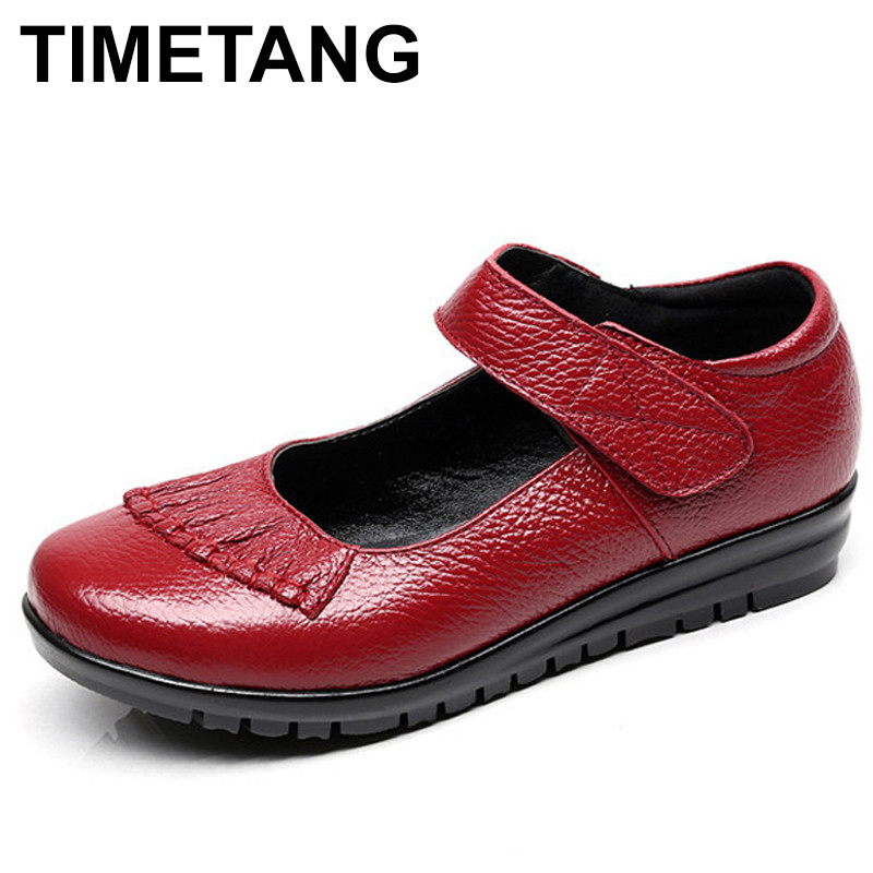 janes story ja025bwhed31 TIMETANG 2018 Mary Janes Ladies Flats Hook & Loop Comfortable Women Shoes Round Toe Solid Genuine Leather Casual Shoes C269