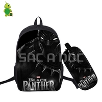 2 Pcs/set Black Panther Daily Backpack for Teenagers Children School Bags Students Laptop Backpack Super Hero Travel Rucksack