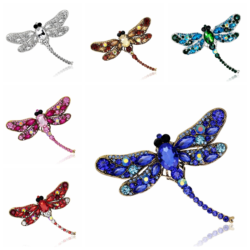 3pcs/lot Dragonfly brooch Pins bodice Diamond Cabochon safety Clothing collarpin for craft brooches wedding garment decorations