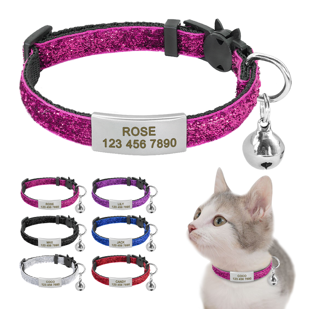 Personalized Quick Release Cat Collar Bling Puppy Kitten ID Tag Collars Bell Safety Custom Engraved Name Tag For Small Dogs Cats image