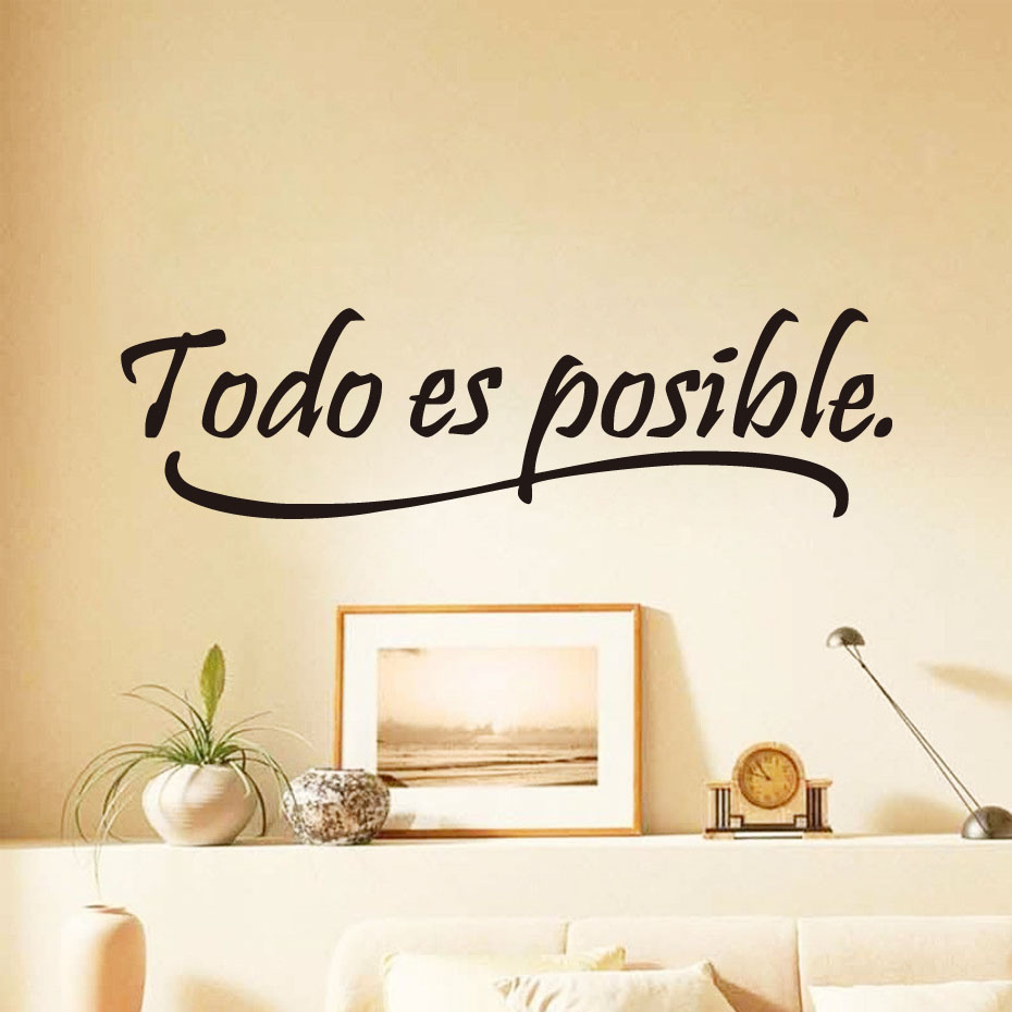 Dctop everything is possible spanish inspiring quotes wall for Home decor quotes on wall