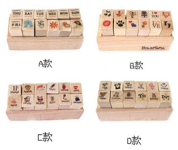 Korean Version   Cute Diary Seals 4 Wood Seals Rubber Seals  Diy Crafts For Kids  Kids Arts And Crafts