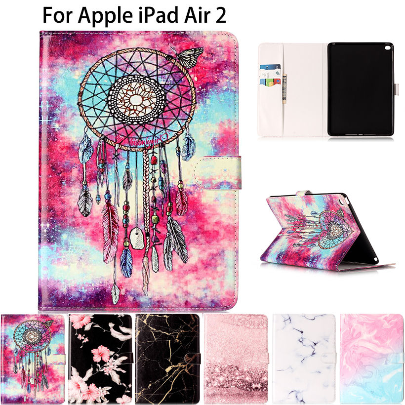 Marble Pattern Silicone PU Leather Case Cover For Apple iPad air 2 case For iPad 6 Tablet Funda Flip Stand Skin Shell Capa  tablet case for apple ipad mini 1 2 3 flip stand star wars rogue one movie print pu leather tablet cover shell coque para capa