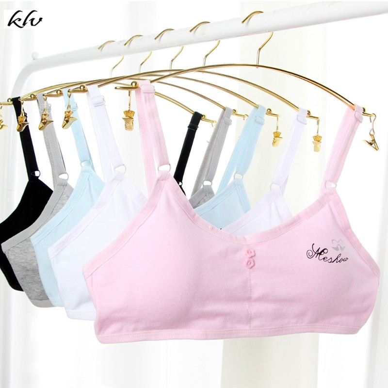 Teen Girls Underwear Adjustable Cotton Print Letters Bra Young Girls Student Training Bra Wire Free 6 Colors