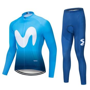 Movistar 2019 novo Conjunto Verão Respirável calças jardineiras manga comprida Ciclismo jersey ropa ciclismo MTB da bicicleta da bicicleta roupas roupas Masculinas