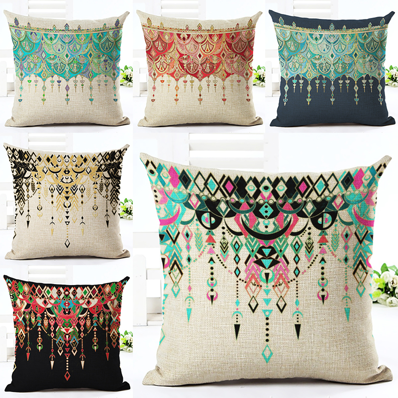 2016new Arrived Western Style Diamond Bead Printed Linen Square Chair Decor Home Throw Pillow Cotton Cojines In Cushion Cover From Garden