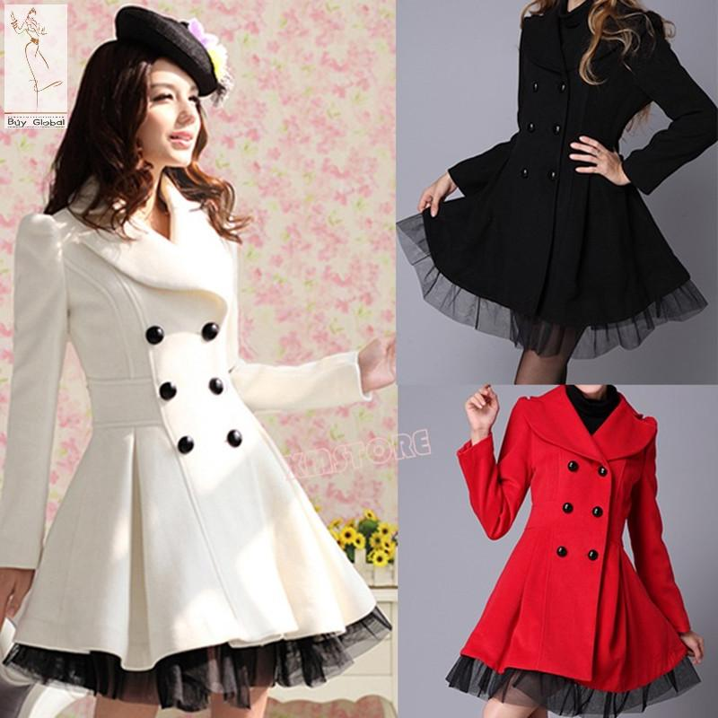2015 New Winter Coat Women Double Breasted Trench Coat Peacoat ...