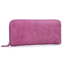 Купить с кэшбэком 100%Genuine Leather Women Wallets Vintage Real Cowhide Candy Color Long Purse Lady Billeteras Mujeres Multi-card Billfold Purple
