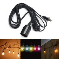 4 5m Power Cord E26 E27 Lamp Base Max 60W Black Retro Vintage Lamp Base Holder