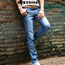Mns Large Size Leisure Fog Spring And Autumn Blue Fashion casual Push Up In The Waist Straight Bell Bottom Men robin Jeans C3