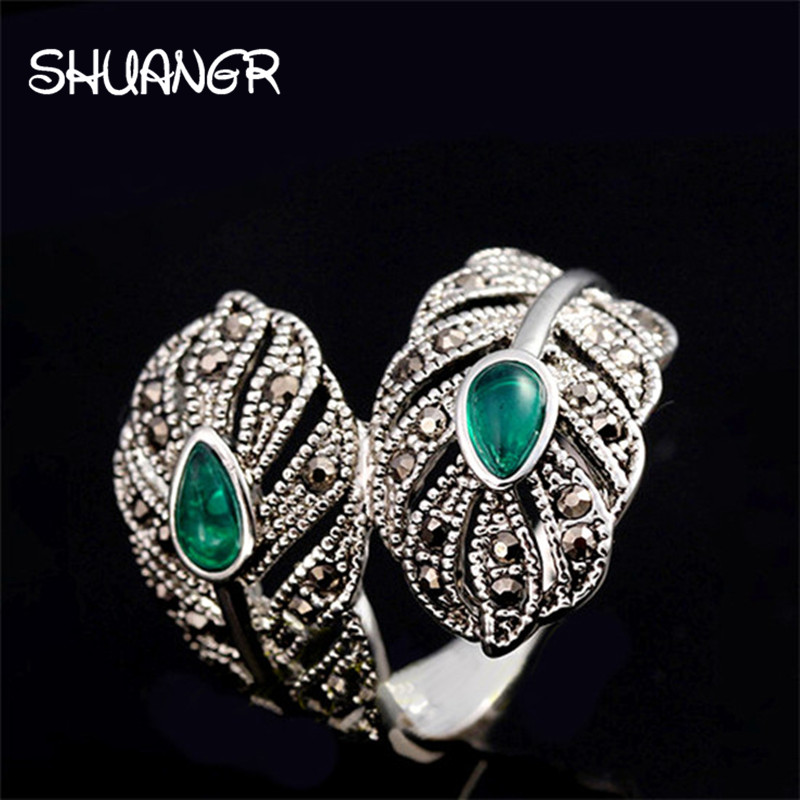SHUANGR 2017 New Vintage Retro Peacock Feather Unique Ring Angels For Women Antique Silver-Color Top Quality TL065 Free Shipping