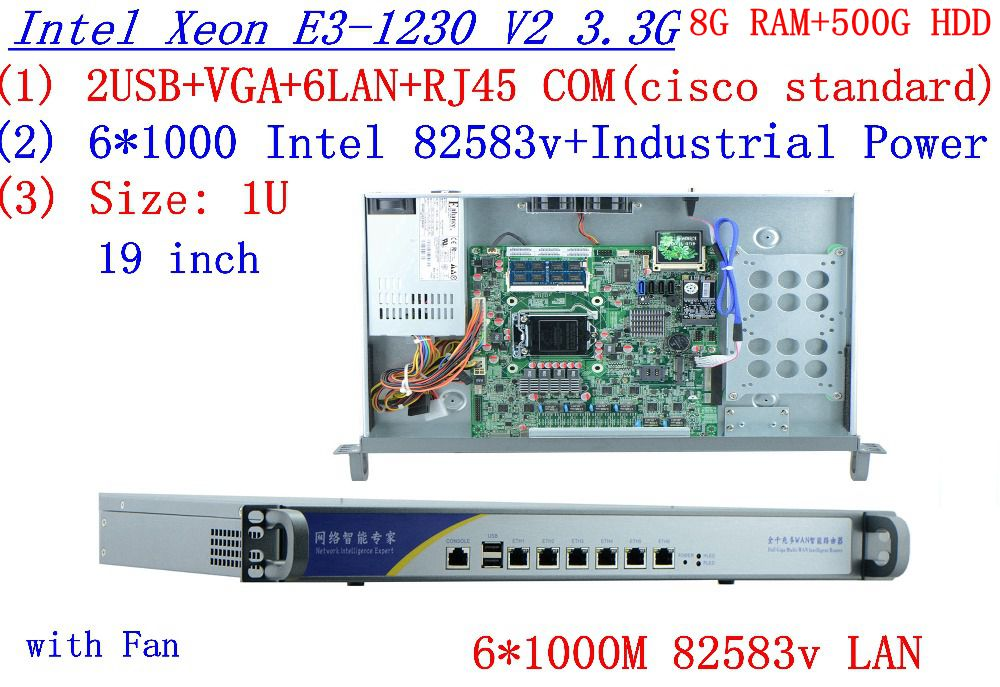 Routeros Winbox 1U Server With Six Intel PCI-E 1000M 82583V Gigabit LAN Inte Quad Core Xeon E3-1230 V2 3.3Ghz 8G RAM 500G HDD