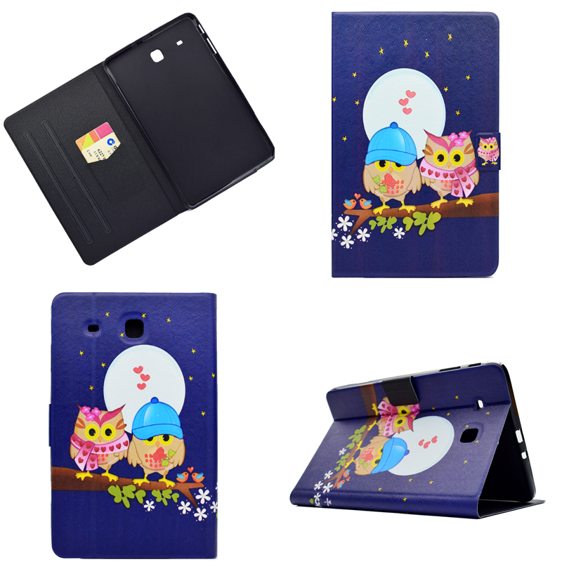 Cartoon OWI Elephant PU leather Stand Smart Cover For Samsung Galaxy Tab E 9.6inch SM-T560 T560 T561 Tablet Cover Coque bf luxury tablet case for samsung galaxy tab e 9 6 sm t560 sm t561 t560 t561 pu leather flip cute book stand cover protector