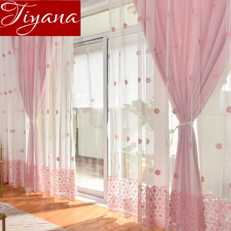 Us 8 21 33 Off Sun Flower Curtain Pink Sheer Voile For Living Room Window Bedroom Blue D Tulle Custom Blinds T 069 30 In