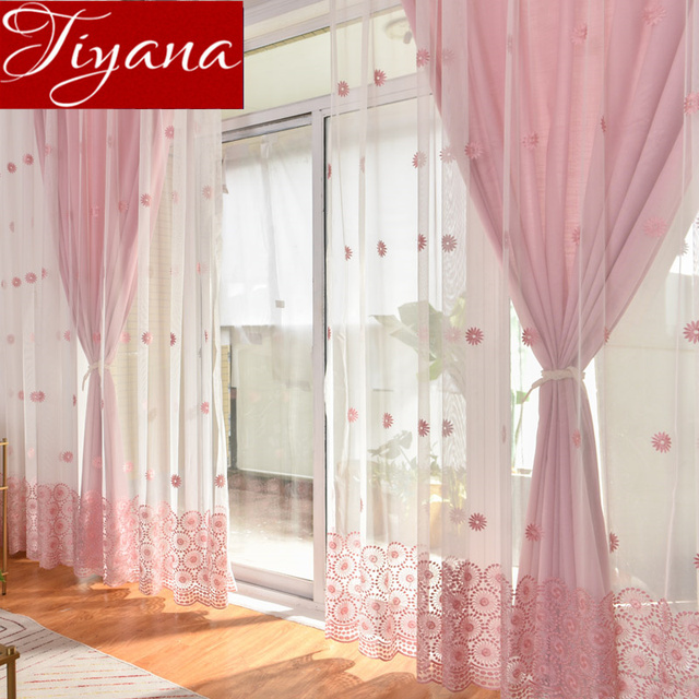 Sun Flower Curtain Pink Sheer Voile For Living Room Curtain For Window  Bedroom Blue Drapes Tulle