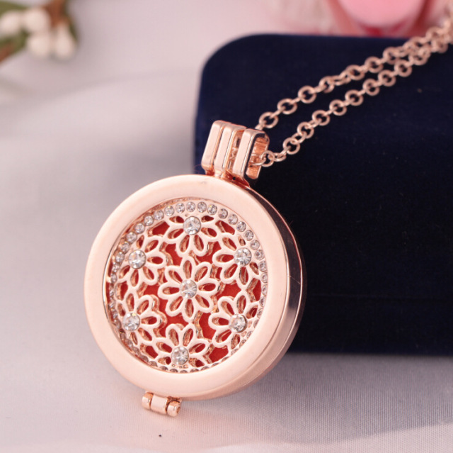 Round Rose Gold Lotus Flower Stainless Steel Essential Oils Locket