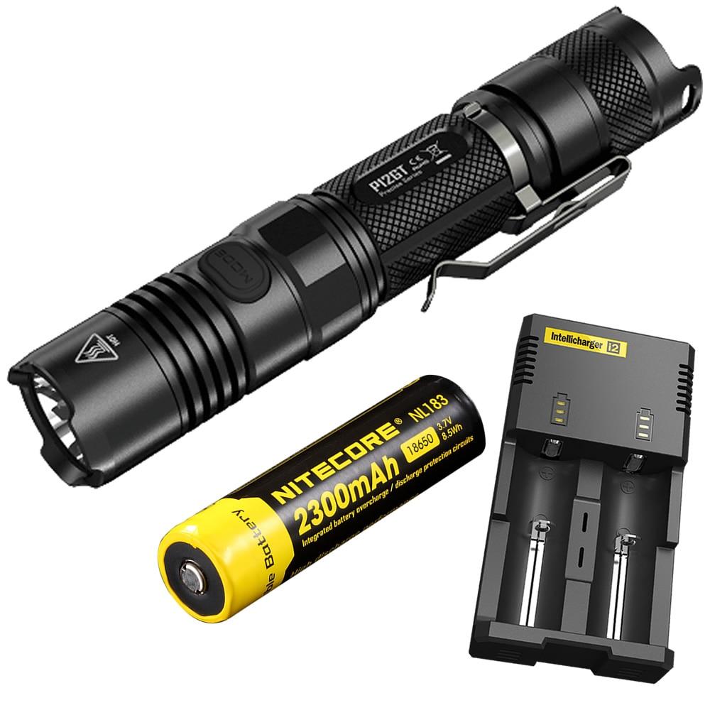 5b872d2d7 2019 NITECORE P12GT 1000 Lms CREE XP-L HI V3 LED linterna táctica  impermeable + 18650 batería recargable i2 cargador proyector