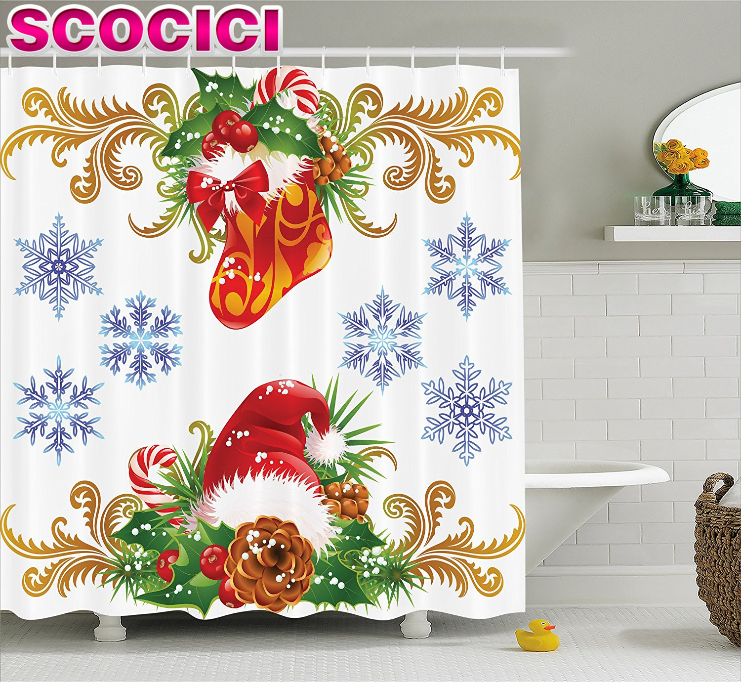 Winter shower curtain - Winter Shower Curtain Ornaments Christmas Retro Decorative With Stocking And Santa Hat Mistletoe Snowflakes Classic Theme