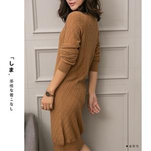 Image 4 - 100% カシミヤハイエンド女性カジュアルロングセータードレス女性の秋の冬黒長袖ルーズニットセータードレス