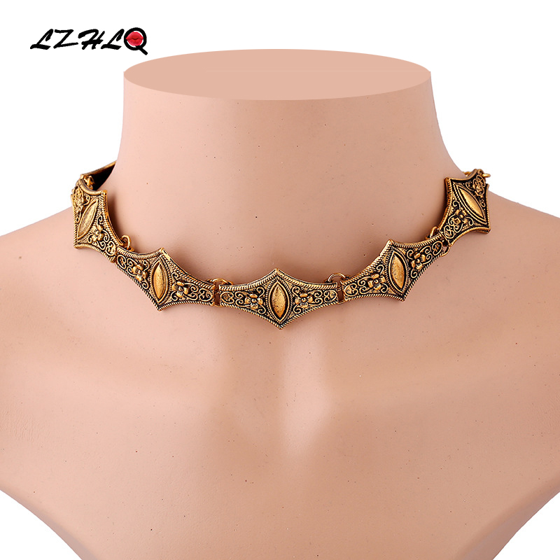 LZHLQ Black Choker Necklace 2017 Women Metal Geometric Punk Gothic Retro Collar Maxi Necklace Fashion Brand Jewelry Accessories