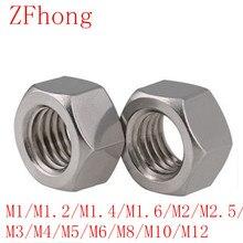 5-50 шт. DIN934 m1 m1.2 m1.4 m1.6 M2 M2.5 M3 M4 m5 m6 m8 m10 m12 Нержавеющая сталь Шестигранная гайка